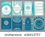 vector templates with mandala.... | Shutterstock .eps vector #636013757