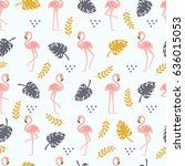 tropical seamless pattern with... | Shutterstock .eps vector #636015053