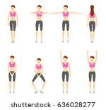 girl dioing exercise on white... | Shutterstock . vector #636028277
