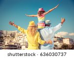 happy family traveling. people... | Shutterstock . vector #636030737