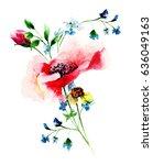 stylized spring flowers ... | Shutterstock . vector #636049163