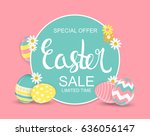 happy easter spring holiday... | Shutterstock . vector #636056147