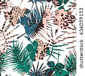 trendy seamless exotic pattern... | Shutterstock .eps vector #636059153