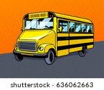 school bus pop art style vector ... | Shutterstock .eps vector #636062663