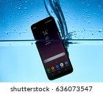 samsung galaxy s8 in water | Shutterstock . vector #636073547