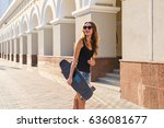 beautiful hipster girl with...   Shutterstock . vector #636081677