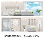 interior of a bright living... | Shutterstock .eps vector #636086147