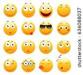 set of 3d cute emoticons. emoji ... | Shutterstock .eps vector #636088037