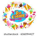 vector flat ice cream cones ... | Shutterstock .eps vector #636094427