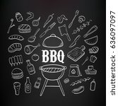 barbecue products and tools... | Shutterstock .eps vector #636097097
