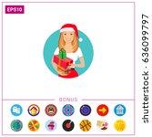 woman in santa hat holding gift ... | Shutterstock .eps vector #636099797