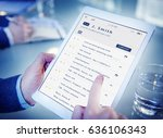 email inbox message list online ... | Shutterstock . vector #636106343