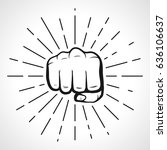 fist with sunbursts  hand... | Shutterstock .eps vector #636106637