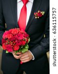 groom holding bridal bouquet... | Shutterstock . vector #636115757