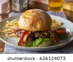 thick tasty bacon cheese burger ... | Shutterstock . vector #636124073