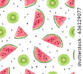 seamless pattern with kiwi... | Shutterstock .eps vector #636129077