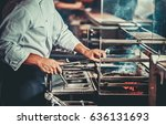 food concept. chef in white... | Shutterstock . vector #636131693