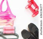 flat lay of woman sport... | Shutterstock . vector #636136277