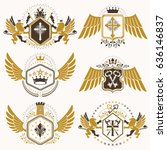 heraldic vector signs decorated ... | Shutterstock .eps vector #636146837