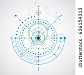 geometric technology vector... | Shutterstock .eps vector #636154313