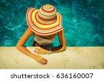 beautiful young woman relaxing... | Shutterstock . vector #636160007