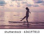 woman relaxing on the beach... | Shutterstock . vector #636197813
