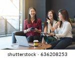 group three women meeting in a...   Shutterstock . vector #636208253