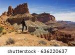 lone hiker enjoying landscape... | Shutterstock . vector #636220637