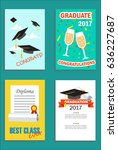 happy graduation cards set with ... | Shutterstock .eps vector #636227687
