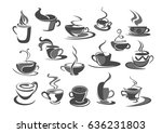 coffee cups vector icons set...   Shutterstock .eps vector #636231803