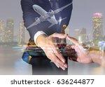 double exposure of businessman... | Shutterstock . vector #636244877