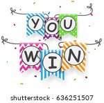 win sign with bunting flags | Shutterstock .eps vector #636251507