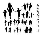 set silhouette of a family with ... | Shutterstock .eps vector #636252143