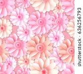 vector gerbera flowers seamless ... | Shutterstock .eps vector #636256793