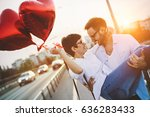 romantic couple in love dating... | Shutterstock . vector #636283433