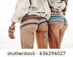 sexy buttocks in bikini on sea... | Shutterstock . vector #636296027