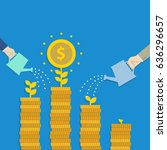businessman hand watering gold... | Shutterstock .eps vector #636296657