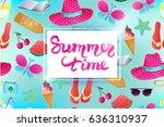 summer time vector illustration.... | Shutterstock .eps vector #636310937
