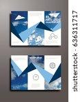 blue annual report leaflet... | Shutterstock .eps vector #636311717