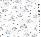 seamless pattern with clouds...   Shutterstock .eps vector #636321827