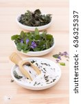 porcelain bowls with herbal... | Shutterstock . vector #636325337
