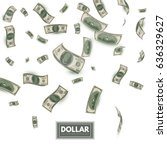 falling dollars. wealth and... | Shutterstock .eps vector #636329627