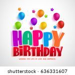 happy birthday vector greeting... | Shutterstock .eps vector #636331607