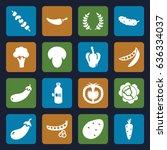 vegetable icons set. set of 16... | Shutterstock .eps vector #636334037