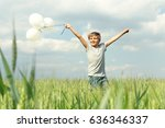 happy little boy plays with... | Shutterstock . vector #636346337