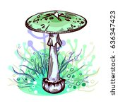 destroying angel mushroom with...   Shutterstock .eps vector #636347423