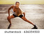 portrait of young fitness woman ... | Shutterstock . vector #636354503