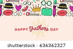 vector icon set of fathers day... | Shutterstock .eps vector #636362327