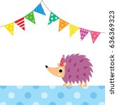 cute porcupine party vector | Shutterstock .eps vector #636369323