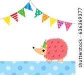 cute porcupine party vector | Shutterstock .eps vector #636369377